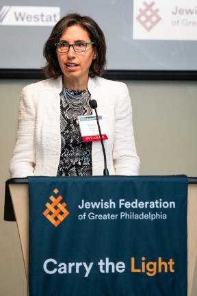 Westat Senior Survey Methodologist Darby Steiger discusses methodology and survey findings of the 2019-20 Community Portrait of the Jewish community of Greater Philadelphia. Photo by Lafayette Hill Studios.